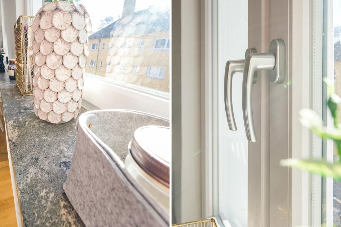 Fönsterbrädor i sten och nya isolerfönster...