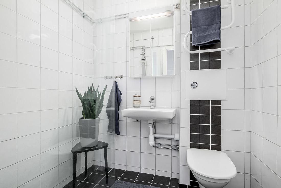 Glasväggar och upphängd wc...