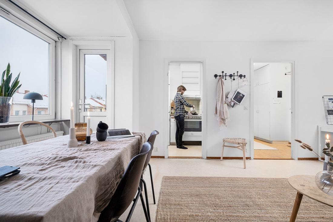 Möjlighet att öppna upp mellan kök och vardagsrum...