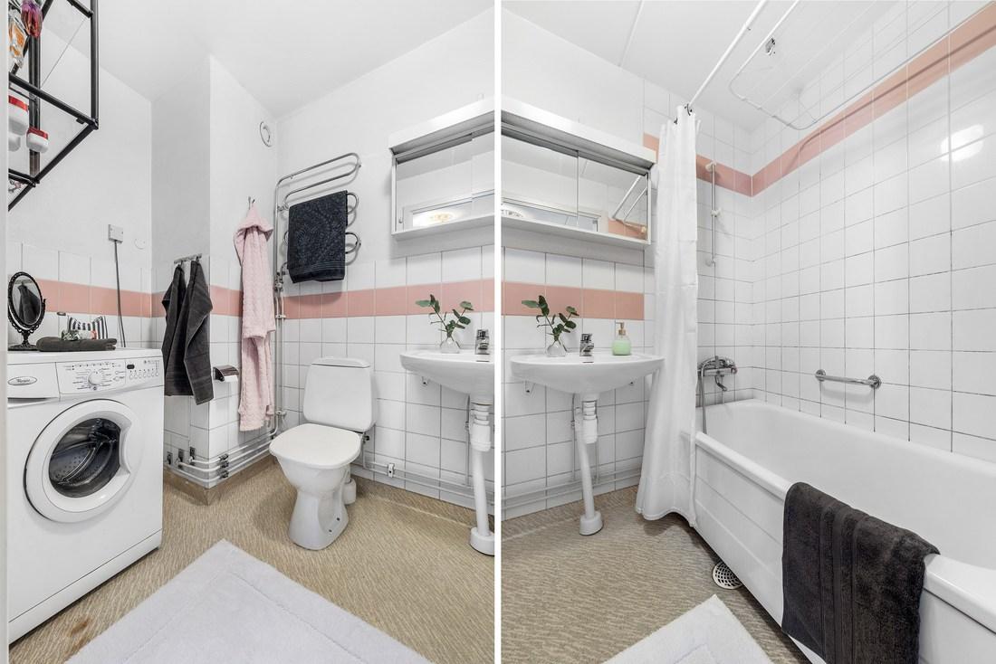 Egen tvättmaskin och handdukstork med värme från vattenburet system...