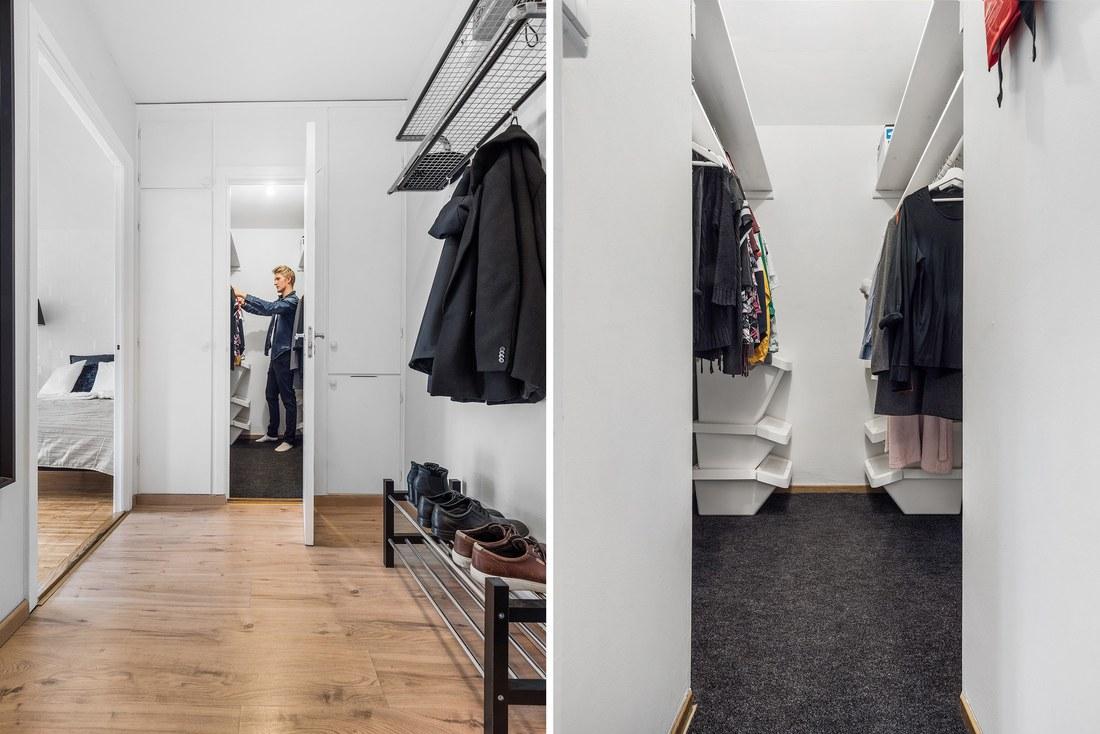 Walk in closet med goda förvaringsmöjligheter